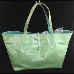 Salvatore Ferragamo Patent Leather Tote Green
